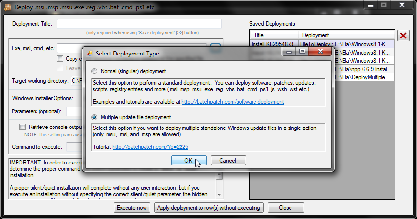 Remotely Install Multiple  MSU Files (or  MSI and  MSP files) to