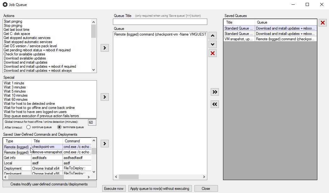 Virtual Machine - Create Snapshot, Apply Windows Updates, Reboot