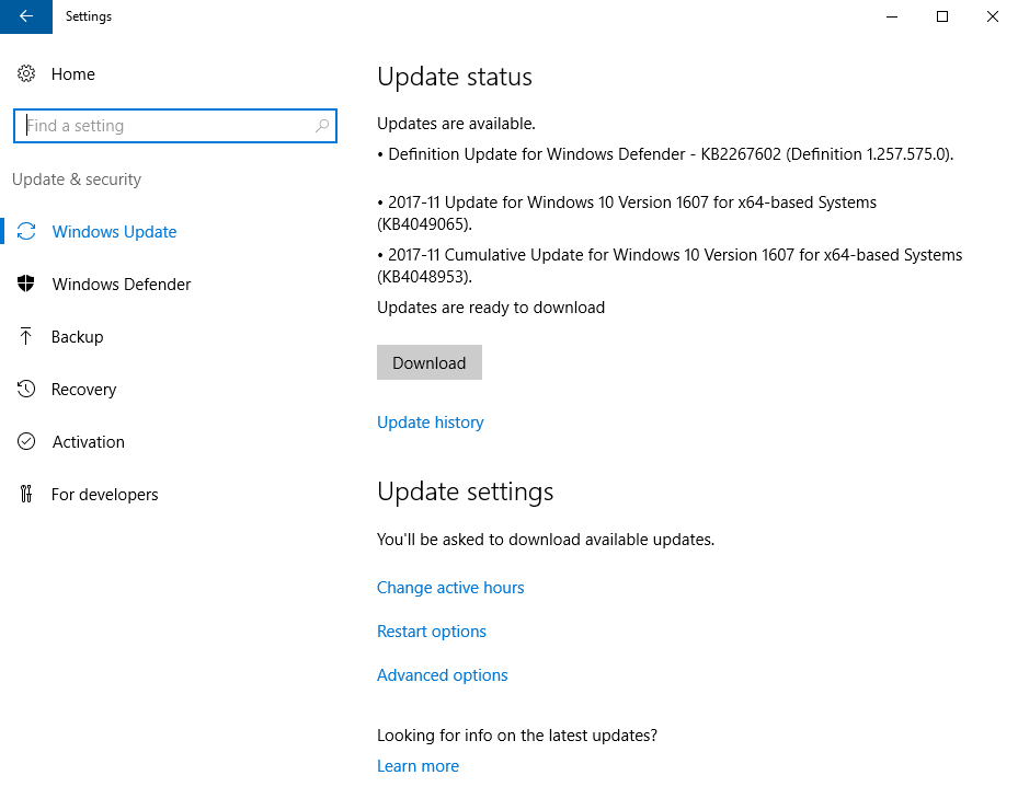 The Windows Update Control Panel in Windows 10/2016 Is Not